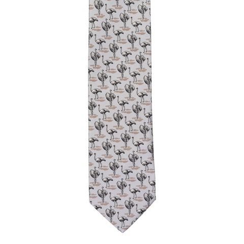 BRIONI Handmade Gray Ostrich Animal Printed Silk Tie NEW