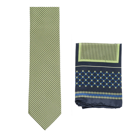 BRIONI Handmade Green Micro-Design Silk Tie Pocket Square Set NEW