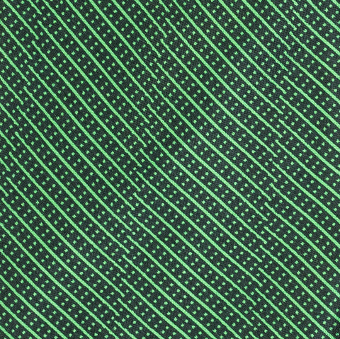 BRIONI Handmade Green Striped Pin Dot Silk Tie Pocket Square Set NEW
