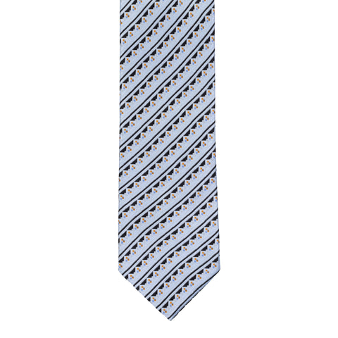 BRIONI Handmade Light Blue Geometric Striped Silk Tie NEW