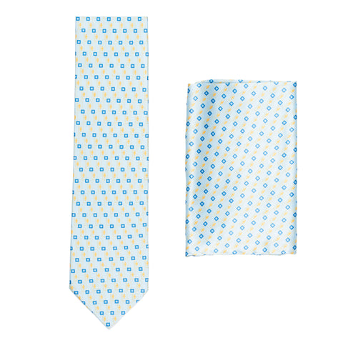 BRIONI Handmade Light Blue Macro-Design Silk Tie Pocket Square Set NEW