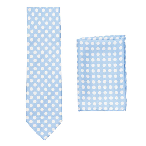 BRIONI Handmade Light Blue Polka Dot Silk Tie Pocket Square Set NEW