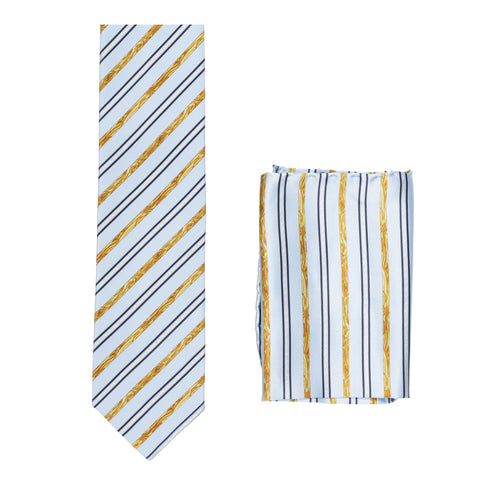 BRIONI Handmade Light Blue Striped Silk Tie Pocket Square Set NEW
