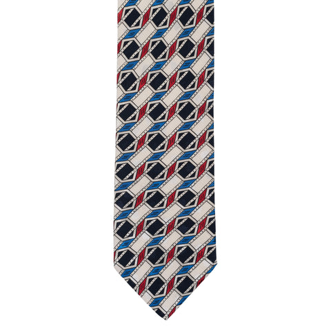 BRIONI Handmade Multi-color Geometric Silk Tie NEW