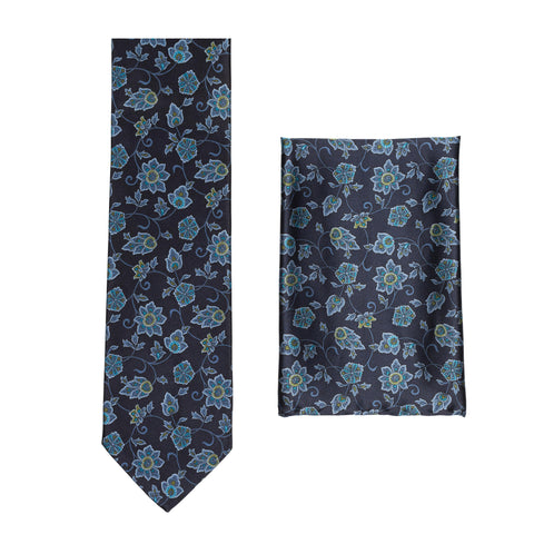 BRIONI Handmade Navy Blue Floral Silk Tie Pocket Square Set NEW