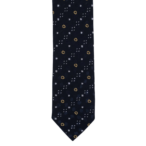 BRIONI Handmade Navy Blue Macro-design Silk Tie NEW