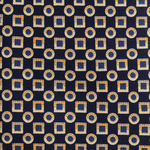 BRIONI Handmade Navy Blue Macro-design Silk Tie Pocket Square Set NEW