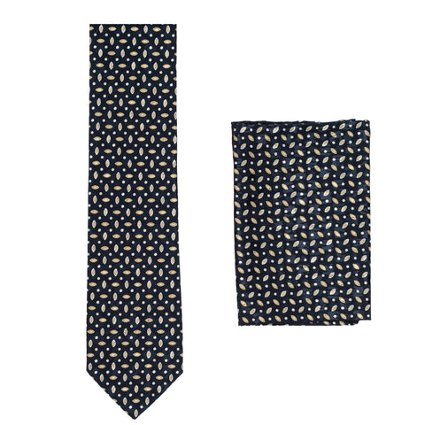 BRIONI Roma Handmade Navy Blue Macro-design Silk Tie Pocket Square Set NEW