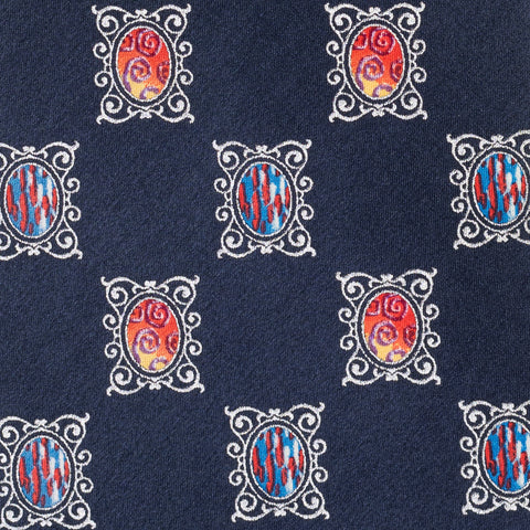 BRIONI Handmade Navy Blue Medallion Silk Tie NEW