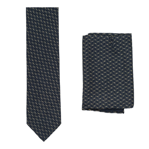 BRIONI Handmade Navy Blue Micro-design Silk Tie Pocket Square Set NEW