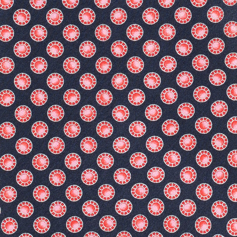 BRIONI Handmade Navy Blue Red Circle Medallion Silk Tie Pocket Square Set NEW
