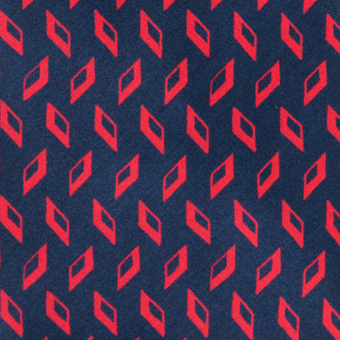 BRIONI Handmade Navy Blue Red Rhombus Medallion Silk Tie Pocket Square Set NEW