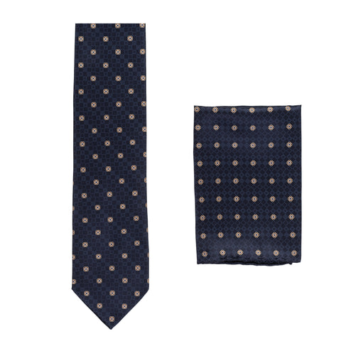BRIONI Handmade Navy Blue Square Micro-design Silk Tie Pocket Square Set NEW