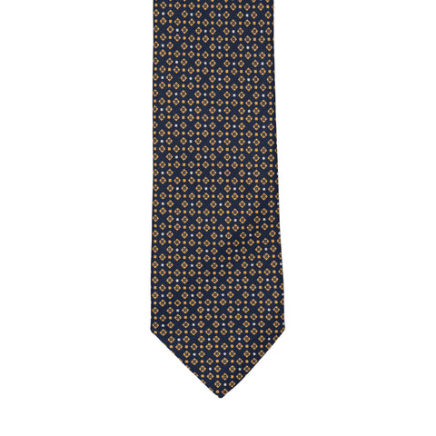 BRIONI Handmade Navy Blue Textured Micro-design Silk Tie NEW
