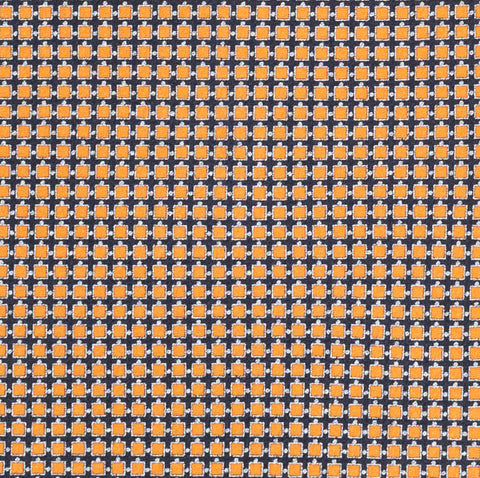 BRIONI Handmade Orange-Blue Micro-Design Silk Tie Pocket Square Set NEW