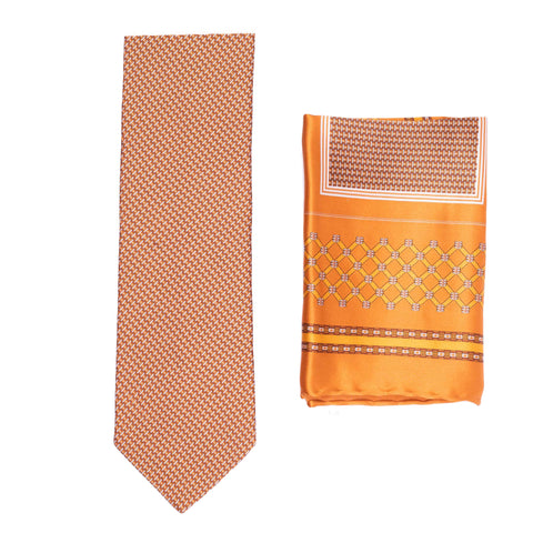 BRIONI Handmade Orange-Bronze Micro-Design Silk Tie Pocket Square Set NEW