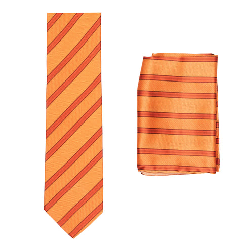 BRIONI Handmade Orange Diagonal Striped Silk Tie Pocket Square Set NEW