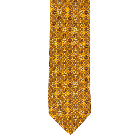 BRIONI Handmade Orange Floral Geometric Foulard Silk Tie NEW