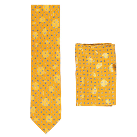 BRIONI Handmade Orange Foulard Silk Tie Pocket Square Set NEW