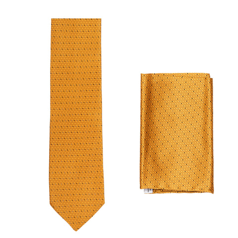 BRIONI Handmade Orange Geometric Micro-design Silk Tie Pocket Square Set NEW