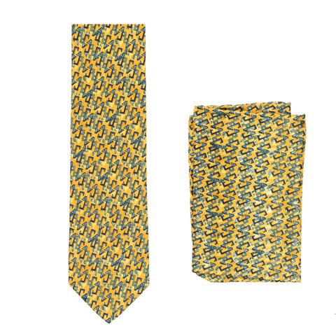 BRIONI Handmade Yellow-Orange Geometric Silk Tie Pocket Square Set NEW