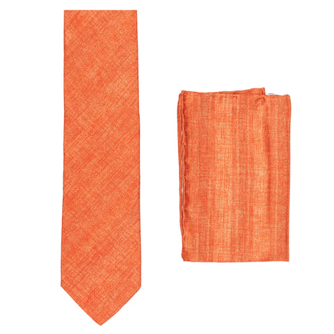 BRIONI Handmade Orange Textured Striped Silk Tie Pocket Square Set