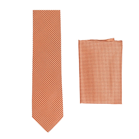 BRIONI Handmade Salmon Micro-Design Silk Tie Pocket Square Set NEW