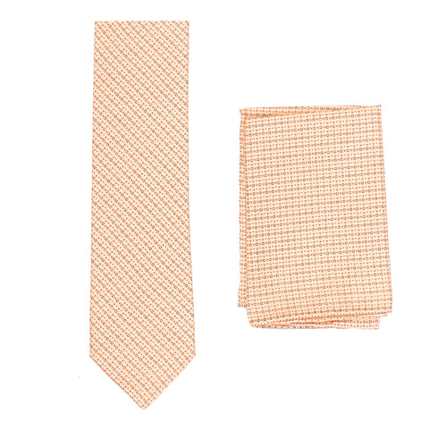 BRIONI Handmade Beige Micro-Design Silk Tie Pocket Square Set NEW