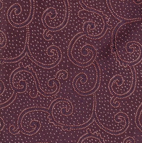 BRIONI Handmade Plum Floral Pin Dot Silk Tie Pocket Square Set NEW