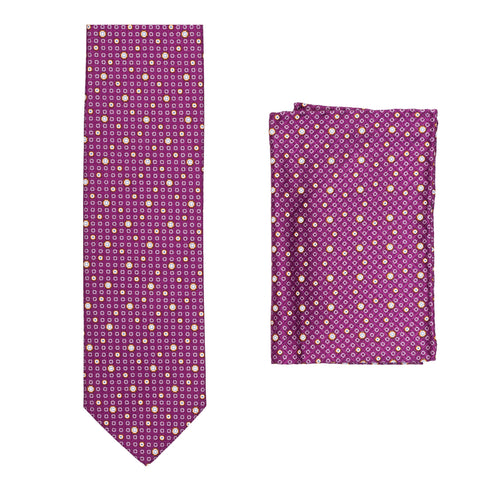 BRIONI Handmade Purple Geometric Micro-design Silk Tie Pocket Square Set NEW