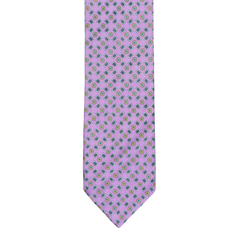 BRIONI Handmade Purple Macro-design Striped Silk Tie NEW