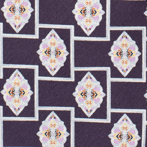 BRIONI Handmade Purple Medallion Silk Tie Pocket Square Set NEW