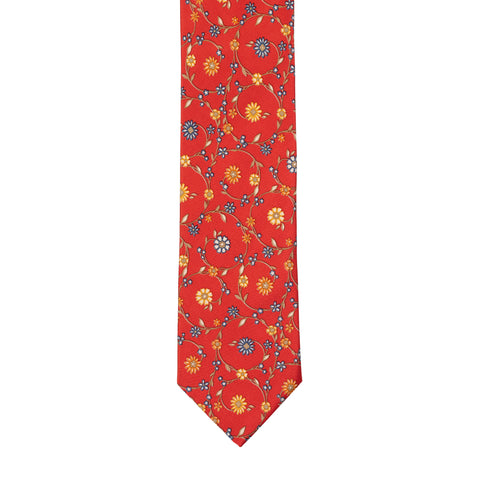BRIONI Handmade Red Floral Silk Tie NEW