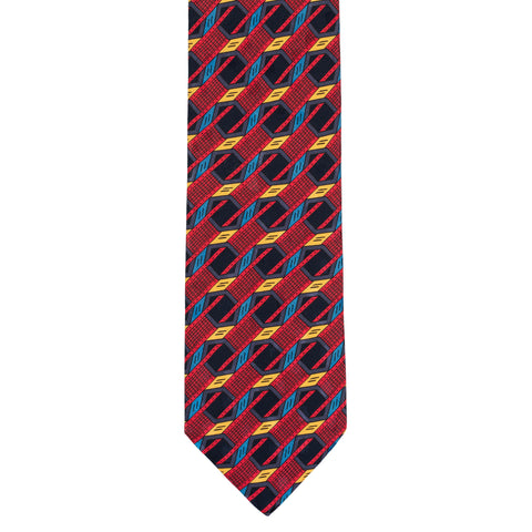 BRIONI Handmade Red Geometric Silk Tie NEW
