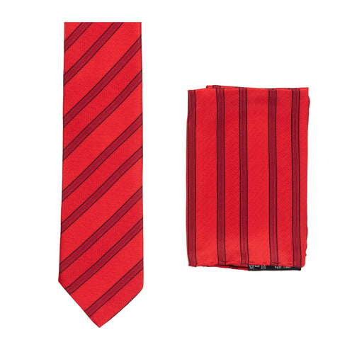 BRIONI Handmade Red Striped Silk Tie Pocket Square Set NEW