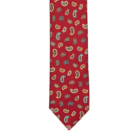 BRIONI Handmade Red Textured Paisley Silk Tie NEW