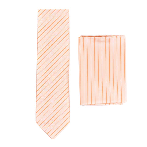 BRIONI Handmade Salmon Striped Silk Tie Pocket Square Set NEW