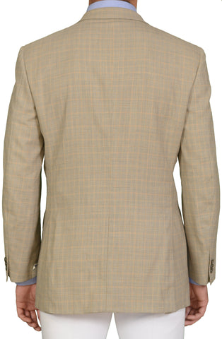 "BRIONI ""TIBERIO"" Handmade Beige Plaid Wool DB Blazer Jacket EU 52 NEW US 42"