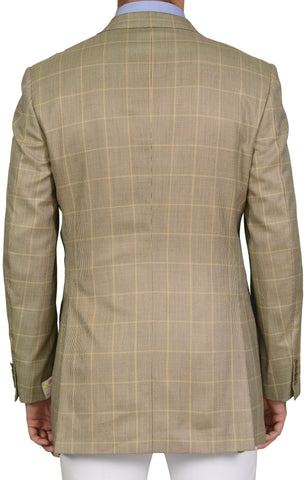 "BRIONI ""TRAIANO"" Handmade Beige Windowpane Silk-Wool Jacket EU 52 NEW US 42 Long"