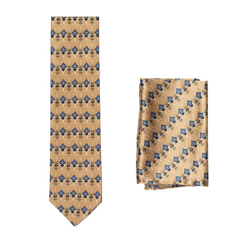 BRIONI Handmade Tan Foulard Silk Tie Pocket Square Set NEW