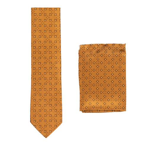 BRIONI Handmade Tan Macro-design Silk Tie Pocket Square Set NEW