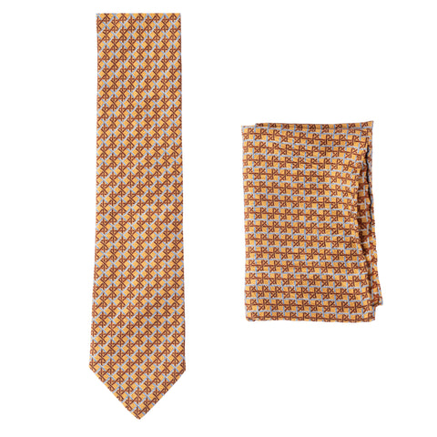 BRIONI Handmade Tan Plaid Silk Tie Pocket Square Set NEW