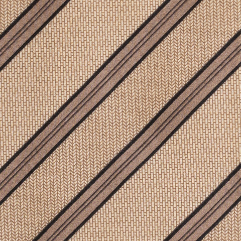 BRIONI Handmade Tan Striped Silk Tie Pocket Square Set NEW