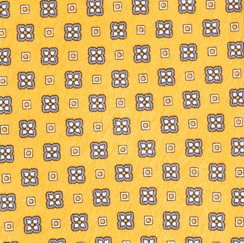 BRIONI Handmade Yellow Floral Foulard Silk Tie Pocket Square Set NEW