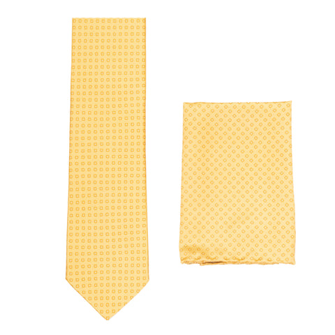 BRIONI Handmade Yellow Micro-Design Foulard Silk Tie Pocket Square Set NEW