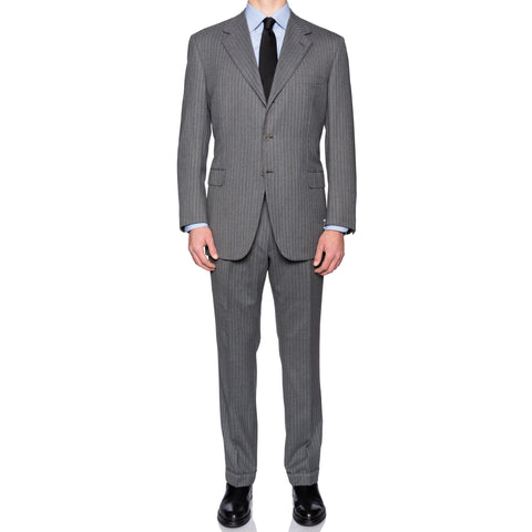 "BRIONI ""NOMENTANO"" For LAMBERTO Gray Striped Wool Suit EU 56 NEW US 46"