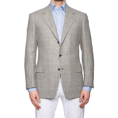 "BRIONI ""PALATINO"" Gray Herringbone Plaid Cashmere Jacket 50 NEW US 40"