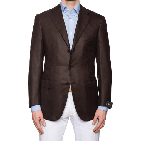 "BRIONI ""PARLAMENTO"" Brown Houndstooth Wool-Silk Jacket EU 50 NEW US 40"