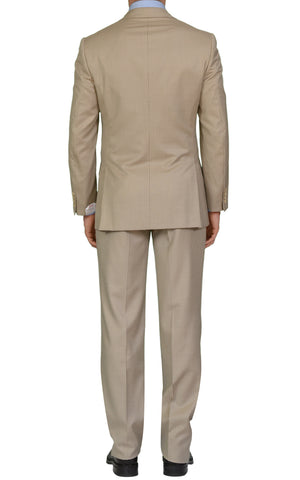 "BRIONI ""PARLAMENTO"" Handmade Beige Striped Wool Silk Suit EU 48 NEW US 38"