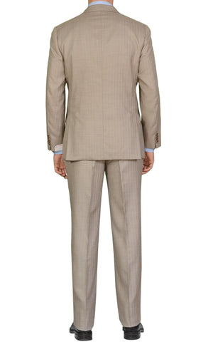 "BRIONI ""PARLAMENTO"" Handmade Beige Striped Wool Silk Suit NEW"